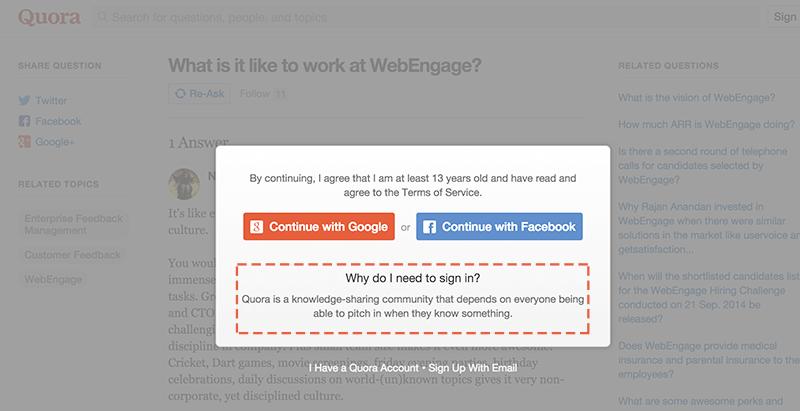Quora social login functionality popup