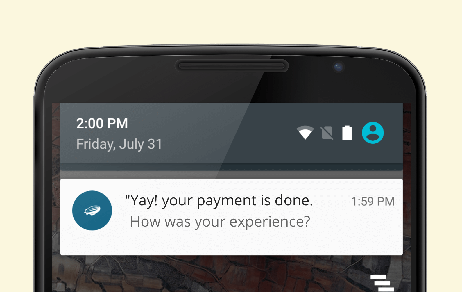 Payment confirmation through push notification android