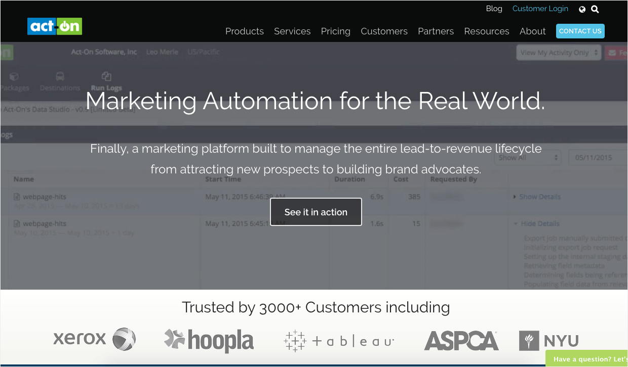ActOn's targeted homepage depending on audience 1