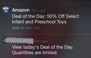 deal of the day push notifications