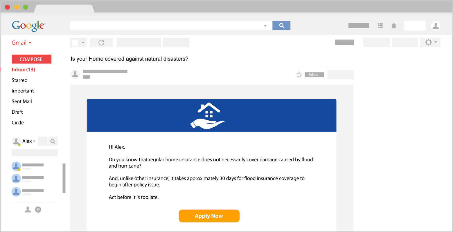 weather based email triggers for insurance