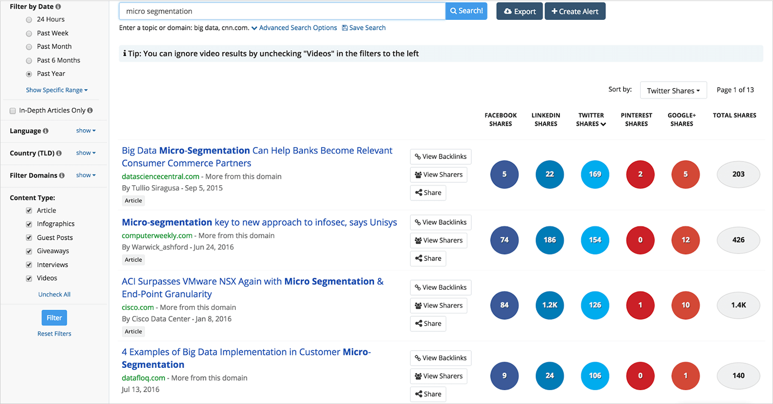 micro segementation search in buzzsumo