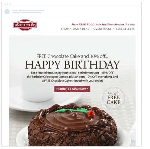 happy birthday email to engage customers