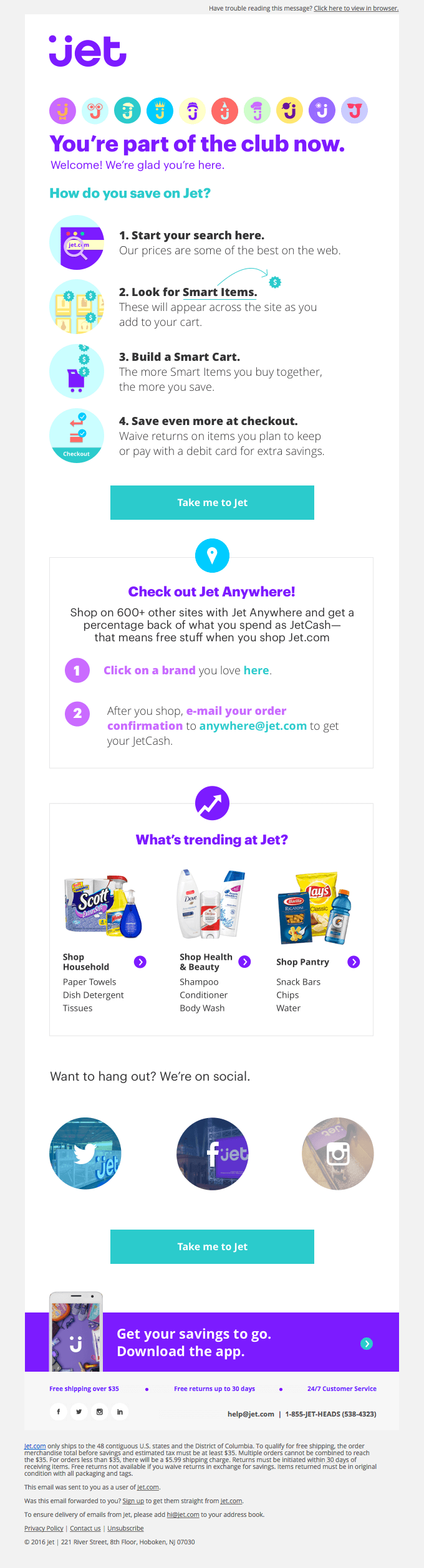 Triggered email example by Jet