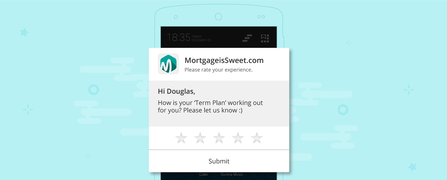 Push notification to take feedback on the experience using the financial product
