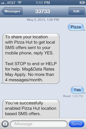 Triggered Localised SMS Marketing Example