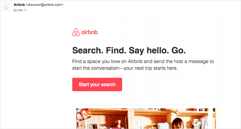 airbnb email example for first site search