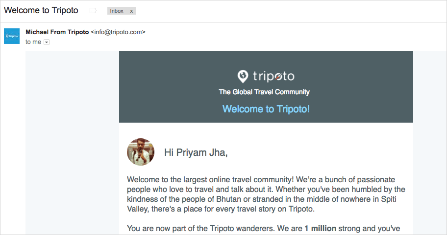 welcome to tripoto email
