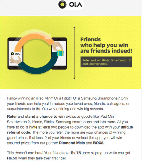 ola referral program email