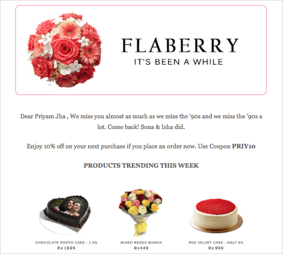 flaberry email reminder