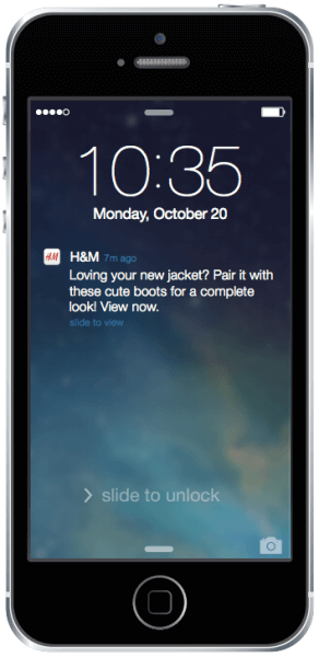 h&m reminder push notification for mobile