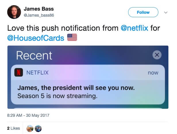 hyper-personalized push notification by Netflix