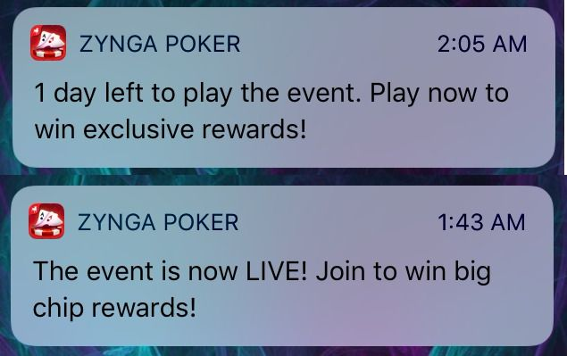 Zynga Poker comunicating through push and in-app notification on mobile devices as multi channel markeitng example