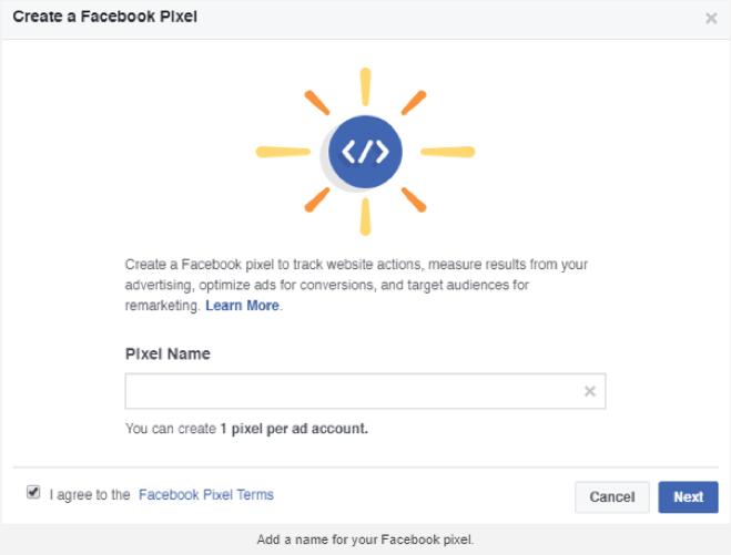 facebook pixel code name