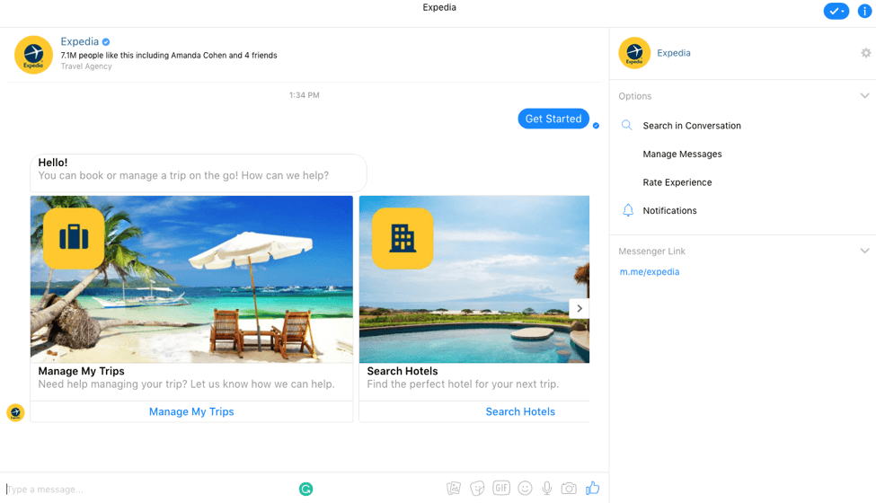 Expedia on Facebook messenger