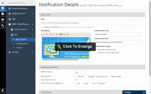 Add details to notification Layout with unique themes in WebEngage