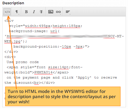 html editor for notification changes