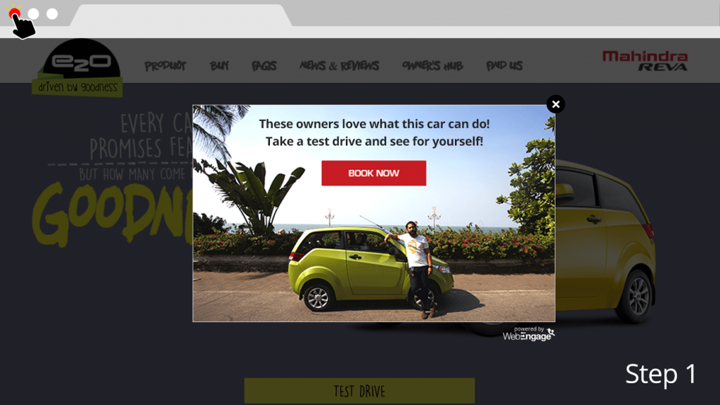 increase leads for car test drives Mahindra Reva - test drive notification message example